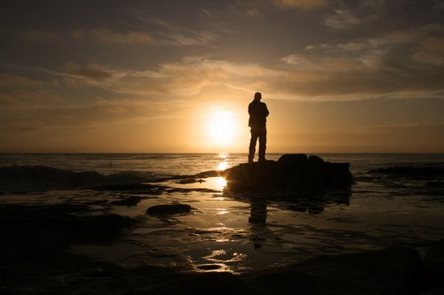Man and sunset